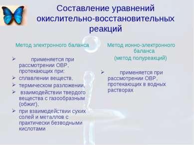 Составление уравнений окислительно-восстановительных реакций Метод электронно...