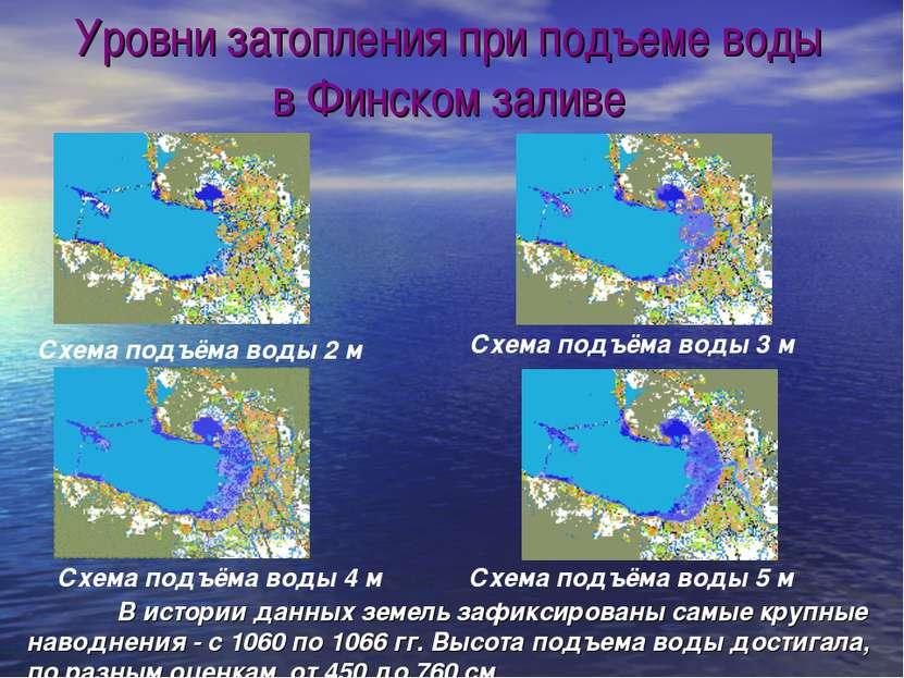 Схема подъёма воды 2 м Схема подъёма воды 4 м Уровни затопления при подъеме в...