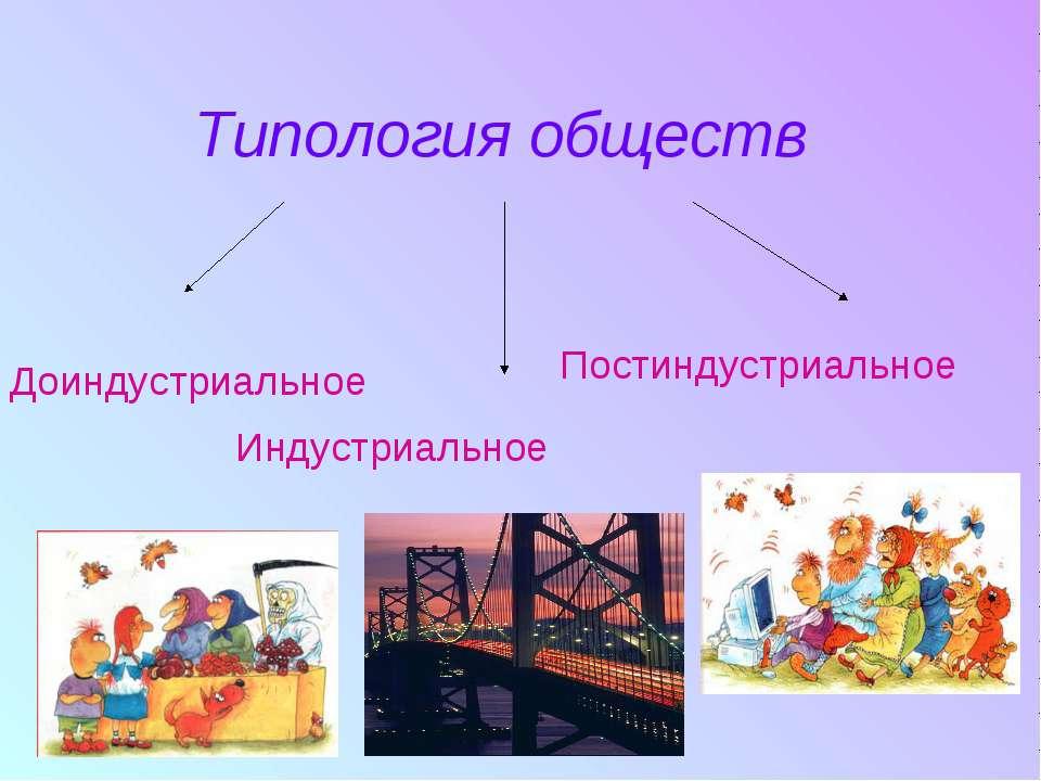 Типология обществ Доиндустриальное Индустриальное Постиндустриальное