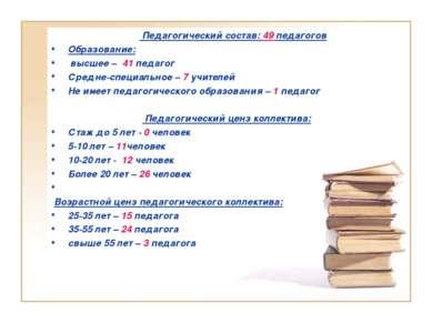 Педагогический состав: 49 педагогов Образование: высшее – 41 педагог Средне-с...