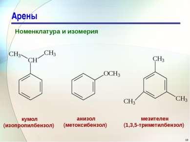 Арены Номенклатура и изомерия кумол (изопропилбензол) анизол (метоксибензол) ...