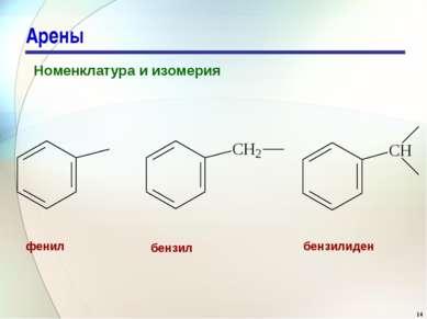 Арены Номенклатура и изомерия фенил бензил бензилиден