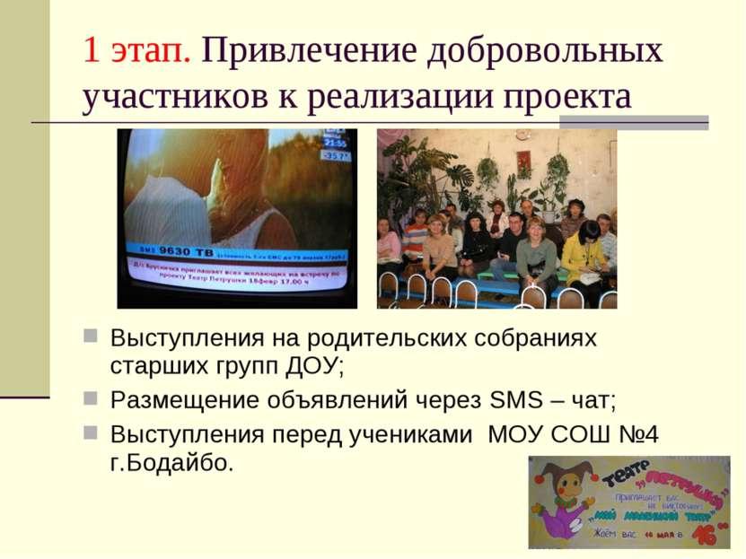 1 этап. Привлечение добровольных участников к реализации проекта Выступления ...