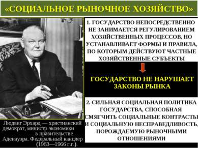 «СОЦИАЛЬНОЕ РЫНОЧНОЕ ХОЗЯЙСТВО» Людвиг Эрхард— христианский демократ, минист...