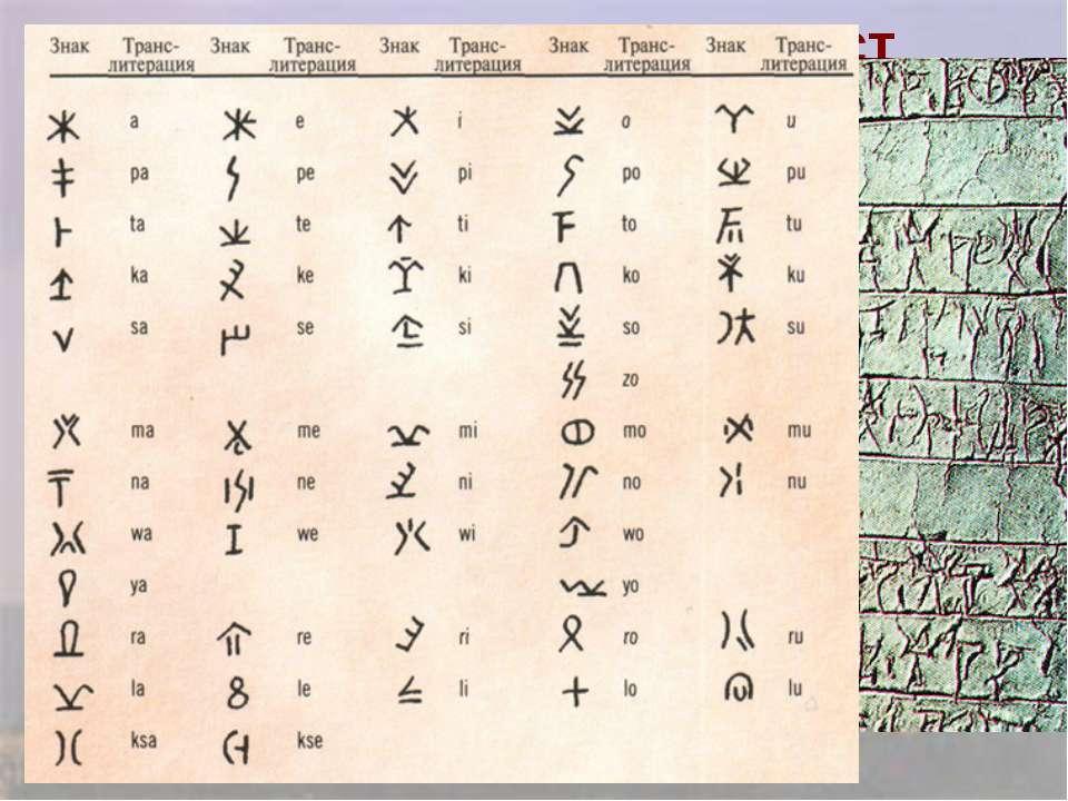 Письменность Линейное письмо, исчезло в 12 в. до н.э.
