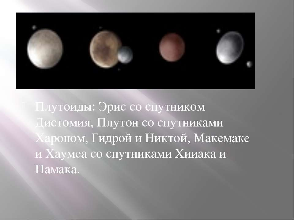 Плутоиды: Эрис со спутником Дистомия, Плутон со спутниками Хароном, Гидрой и ...