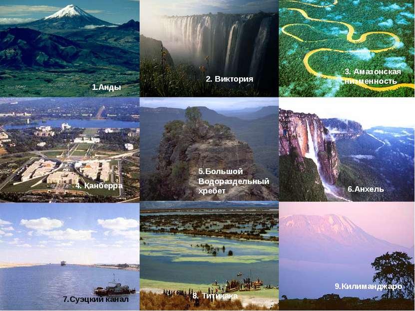 1.Анды 2. Виктория 3. Амазонская низменность 5.Большой Водораздельный хребет ...