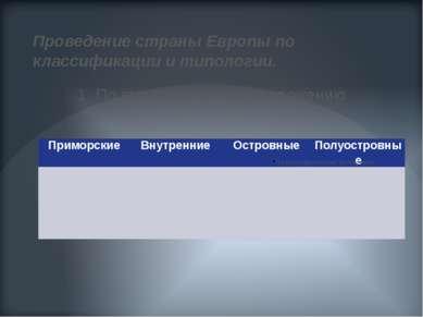 Проведение страны Европы по классификации и типологии. 1. По географическому ...