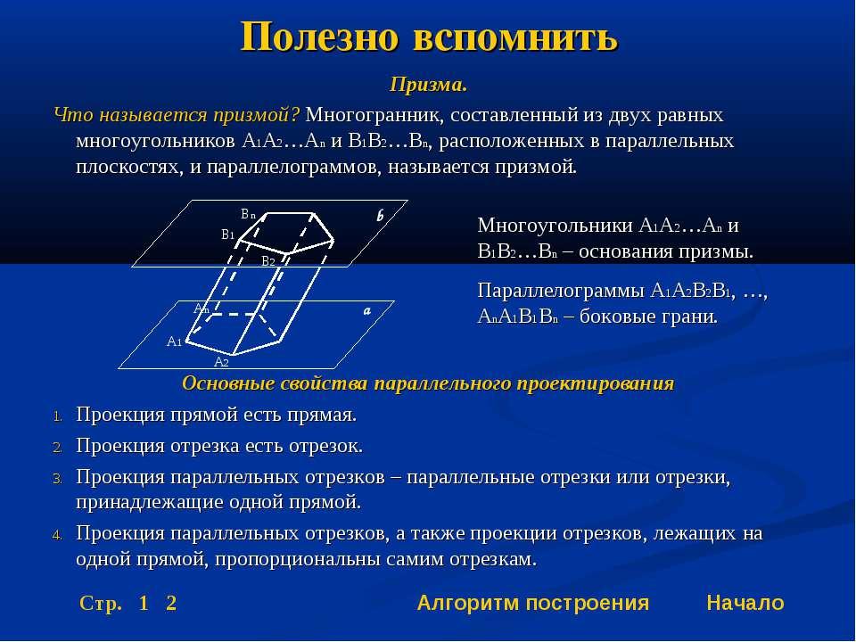 Полезно вспомнить Призма. Что называется призмой? Многогранник, составленный ...