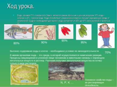 Ход урока. Вода, занимая 71% поверхности Земли, является самым обильным и цен...