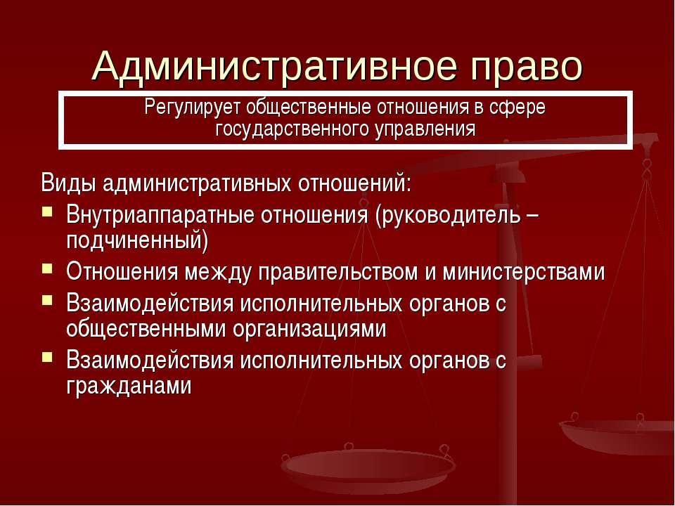 Административное право Виды административных отношений: Внутриаппаратные отно...