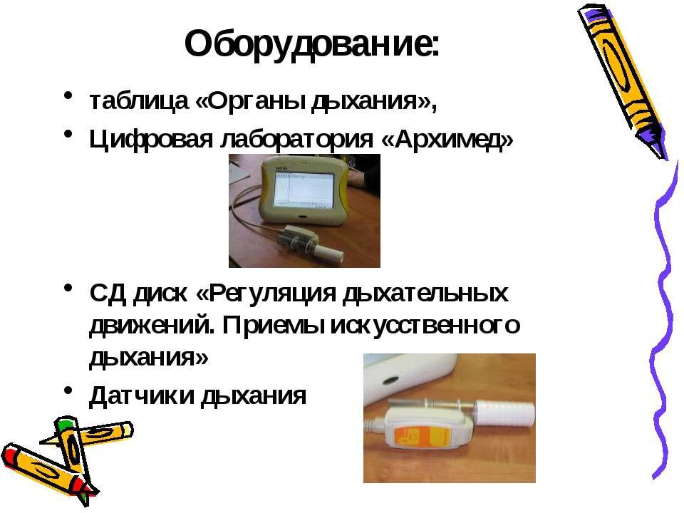 Оборудование: таблица «Органы дыхания», Цифровая лаборатория «Архимед» СД дис...