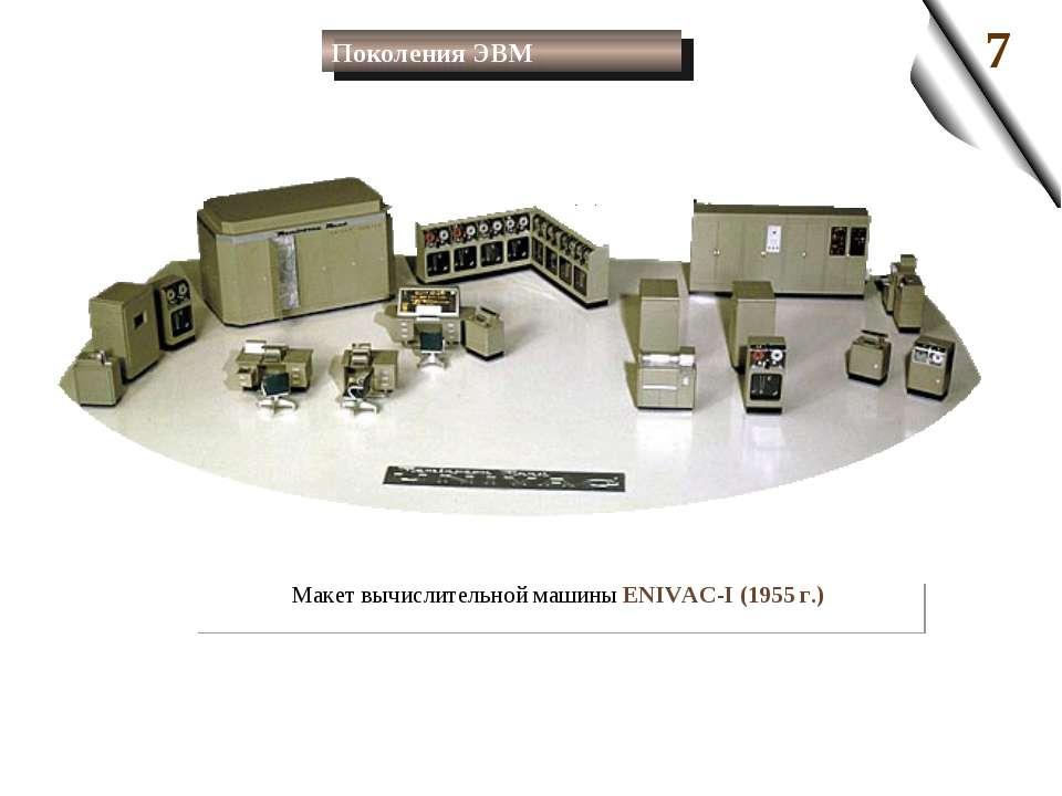 Макет вычислительной машины ENIVAC-I (1955 г.) Поколения ЭВМ