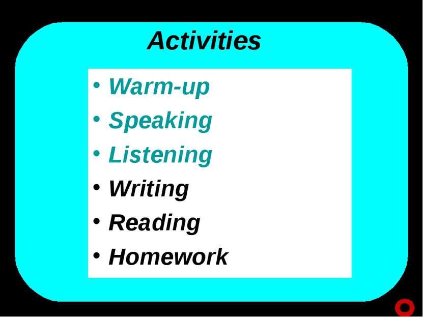 Activities Warm-up Speaking Listening Writing Reading Homework