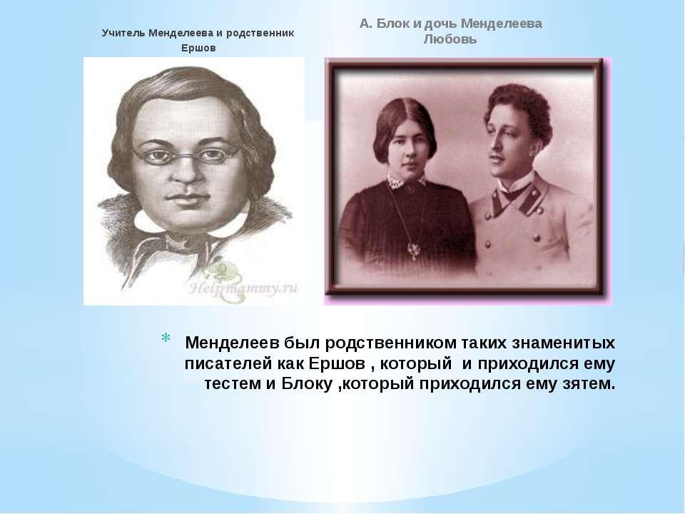 Учитель Менделеева и родственник Ершов А. Блок и дочь Менделеева Любовь Менде...