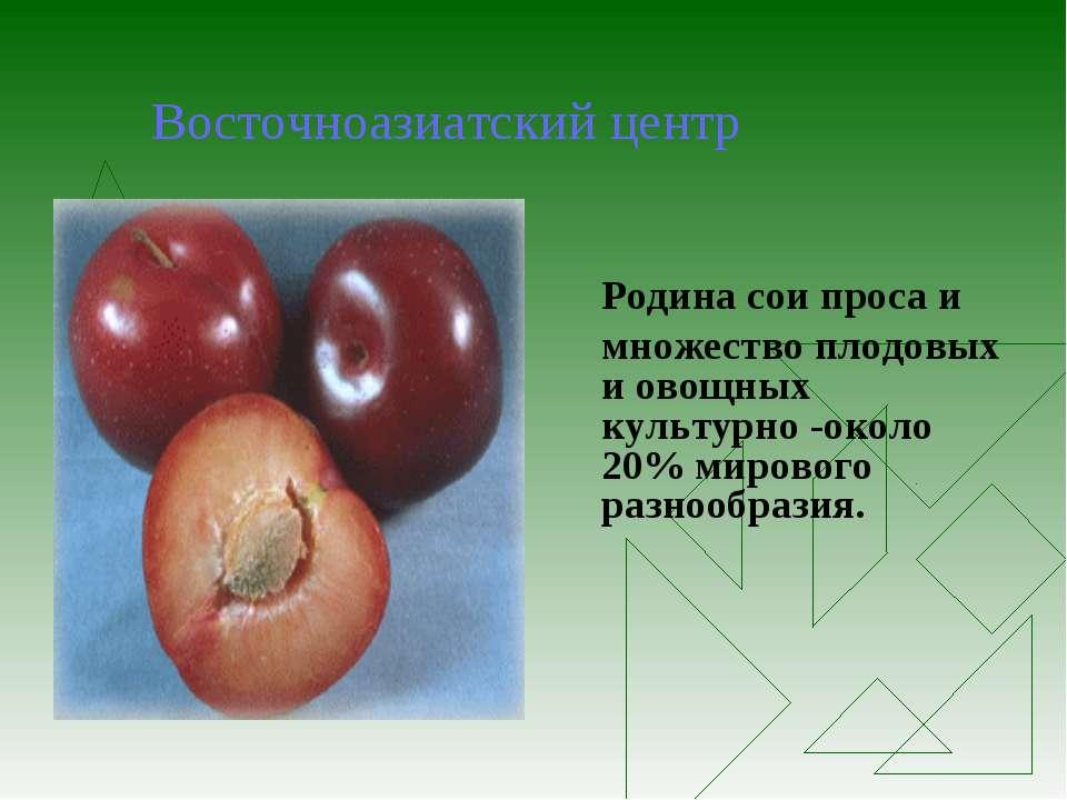 Восточноазиатский центр Родина сои проса и множество плодовых и овощных культ...