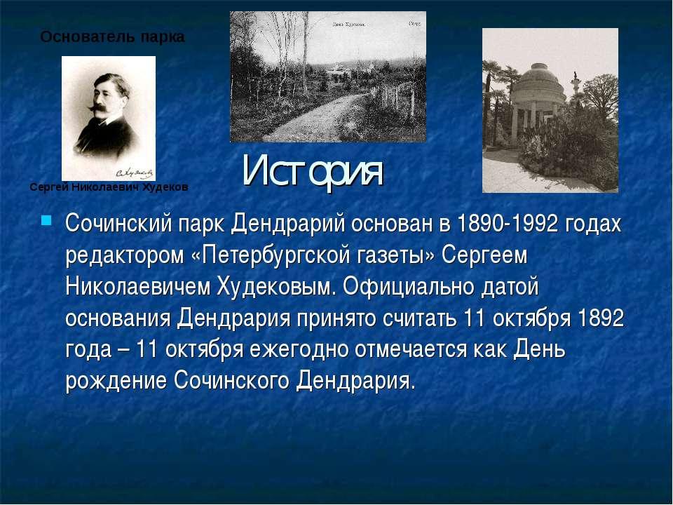 История Сочинский парк Дендрарий основан в 1890-1992 годах редактором «Петерб...