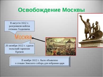Освобождение Москвы В августе 1612 г. разгромили войска гетмана Ходкевича 26 ...