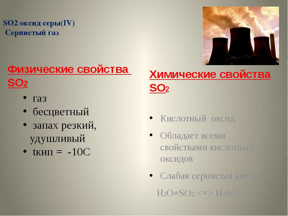 SO2 оксид серы(IV) Сернистый газ Физические свойства SO2 Химические свойства ...