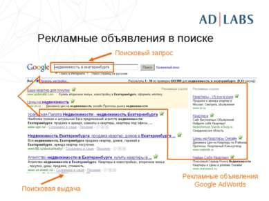 Рекламные объявления в поиске Поисковый запрос Поисковая выдача Рекламные объ...