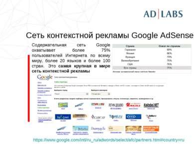 Сеть контекстной рекламы Google AdSense https://www.google.com/intl/ru_ru/adw...