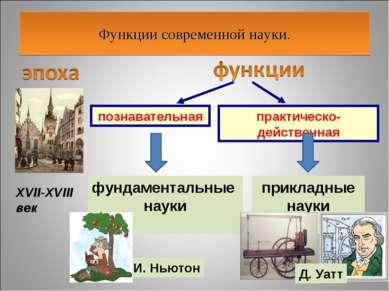 Функции современной науки. XVII-XVIII век познавательная практическо-действен...