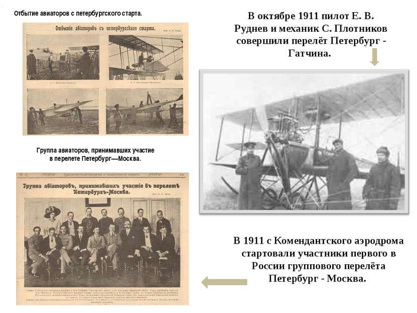 В 1911 с Комендантского аэродрома стартовали участники первого в России групп...