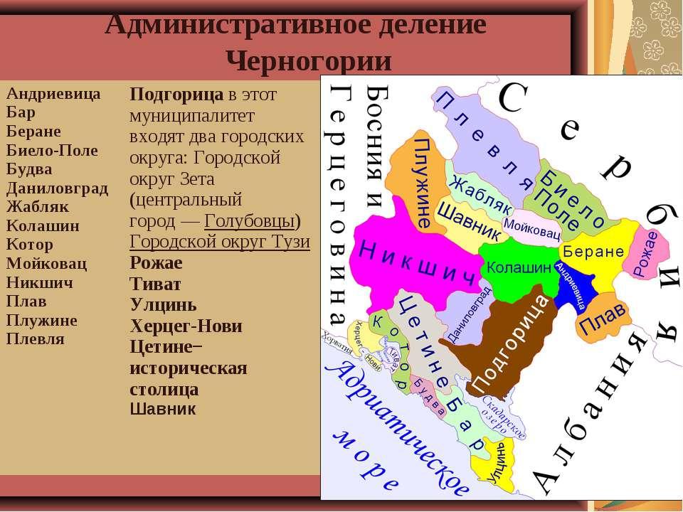 Административное деление Черногории Андриевица Бар Беране Биело-Поле Будва Да...