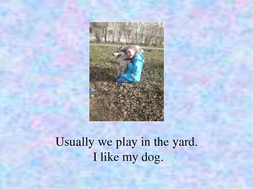 Usually we play in the yard. I like my dog.
