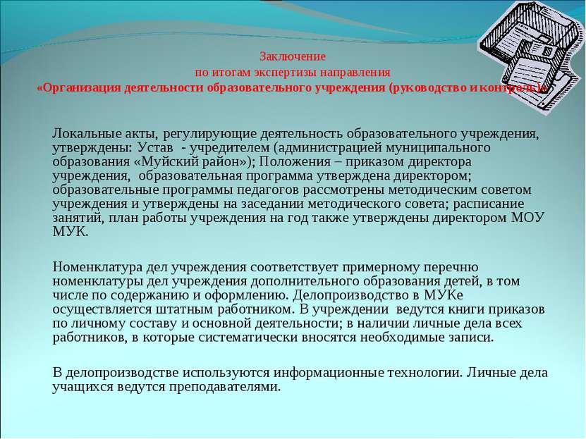 Заключение по итогам экспертизы направления «Организация деятельности образов...
