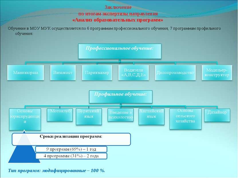 Заключение по итогам экспертизы направления «Анализ образовательных программ»...