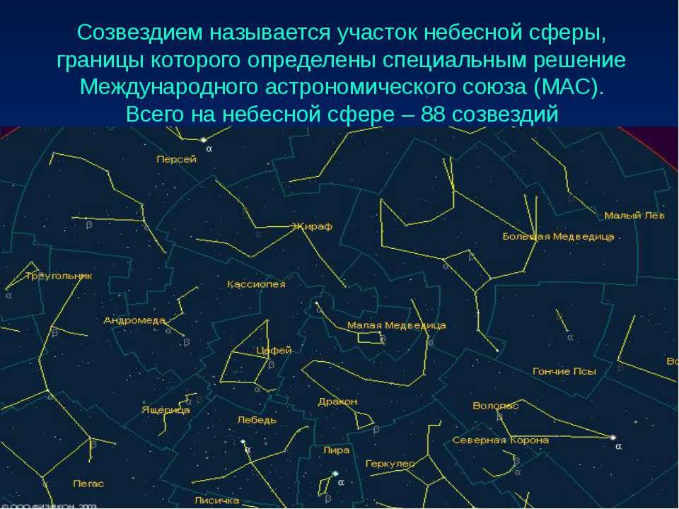 Созвездием называется участок небесной сферы, границы которого определены спе...