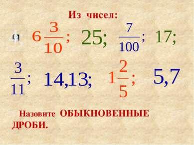 Из чисел: Назовите ОБЫКНОВЕННЫЕ ДРОБИ.
