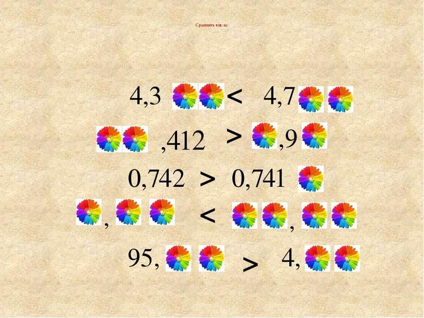 Сравнить числа: > < > < > , , 4,3 4,7 ,412 ,9 0,741 0,742 95, 4,