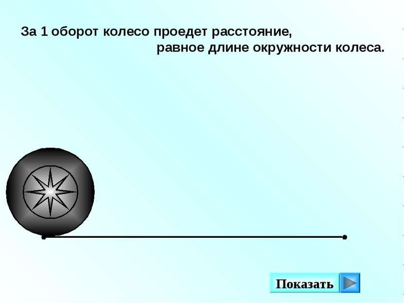 За 1 оборот колесо проедет расстояние, равное длине окружности колеса. Показать