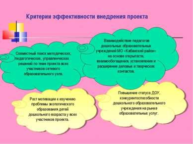 Критерии эффективности внедрения проекта Совместный поиск методических, педаг...