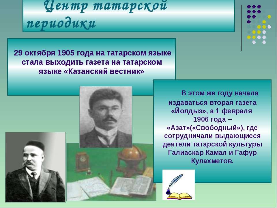 Центр татарской периодики 29 октября 1905 года на татарском языке стала выход...