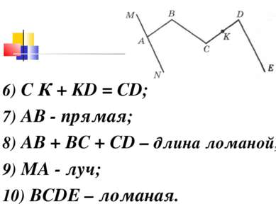 6) С К + KD = CD; 7) АВ - прямая; 8) АВ + ВС + CD – длина ломаной; 9) МA - лу...