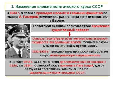 1. Изменение внешнеполитического курса СССР В 1933 г. в связи с приходом к вл...