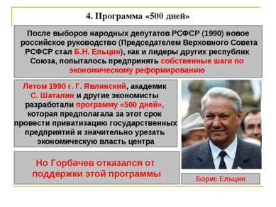4. Программа «500 дней» После выборов народных депутатов РСФСР (1990) новое р...