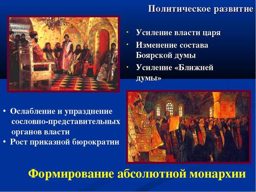 Политическое развитие Усиление власти царя Изменение состава Боярской думы Ус...