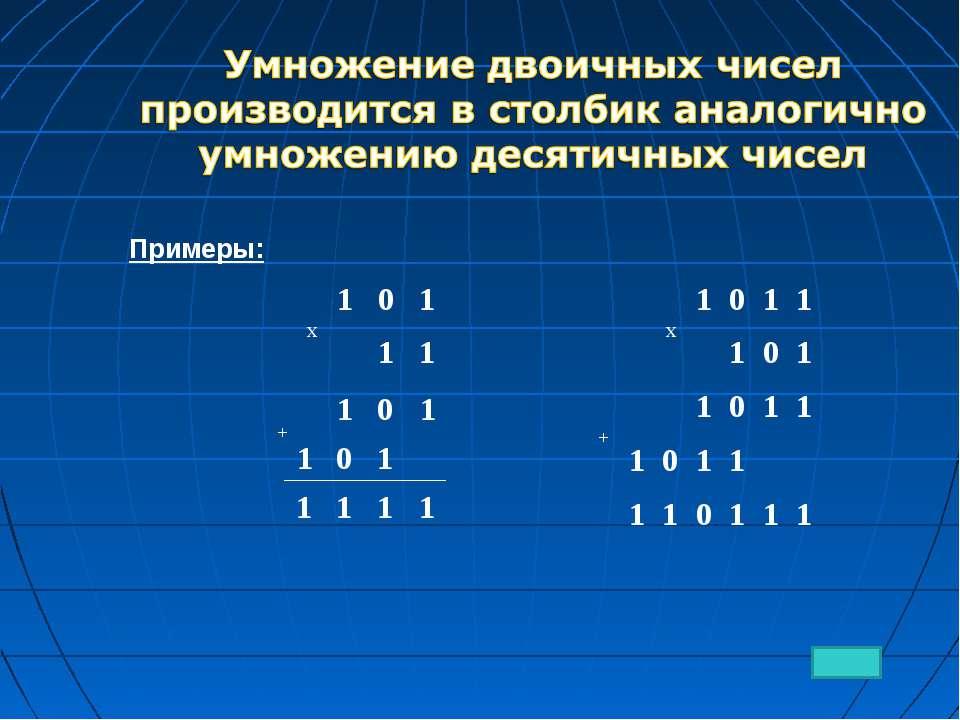 Примеры: 1 0 1 1 0 1 1 1 1 1 + x 1 0 1 1 1 x 1 0 1 1 1 0 1 + 1 0 1 1 1 0 1 1 ...