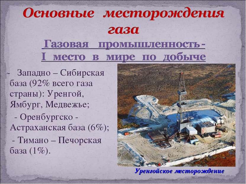 - Западно – Сибирская база (92% всего газа страны): Уренгой, Ямбург, Медвежье...