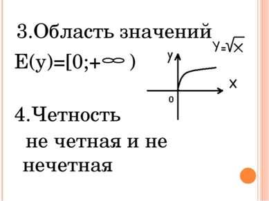 3.Область значений E(y)=[0;+ ) 4.Четность не четная и не нечетная 0
