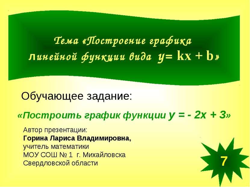 Тема «Построение графика линейной функции вида у= kx + b» «Построить график ф...