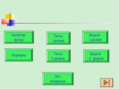 Свойства фигур Задачи II уровня Задачи I уровня Формулы Тесты I уровня Тесты ...