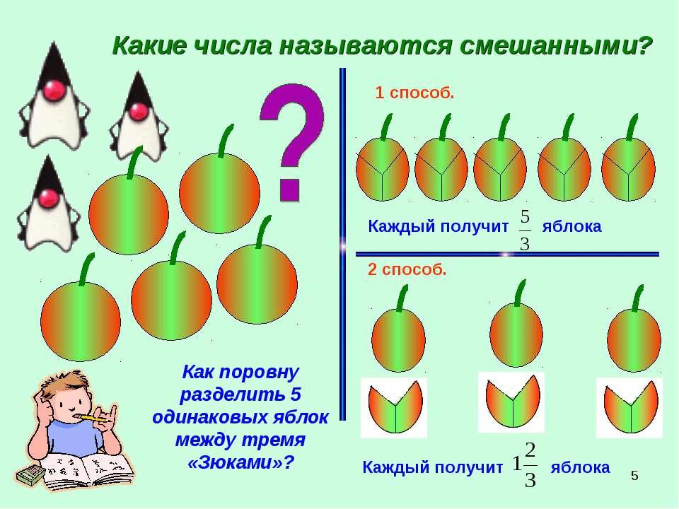 * Какие числа называются смешанными? Как поровну разделить 5 одинаковых яблок...