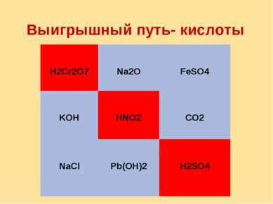 Выигрышный путь- кислоты H2Cr2O7 Na2O FeSO4 KOH HNO2 CO2 NaCl Pb(OH)2 H2SO4