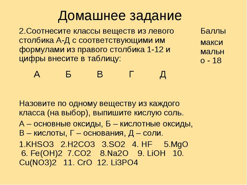 Домашнее задание 2.Соотнесите классы веществ из левого столбика А-Д с соответ...