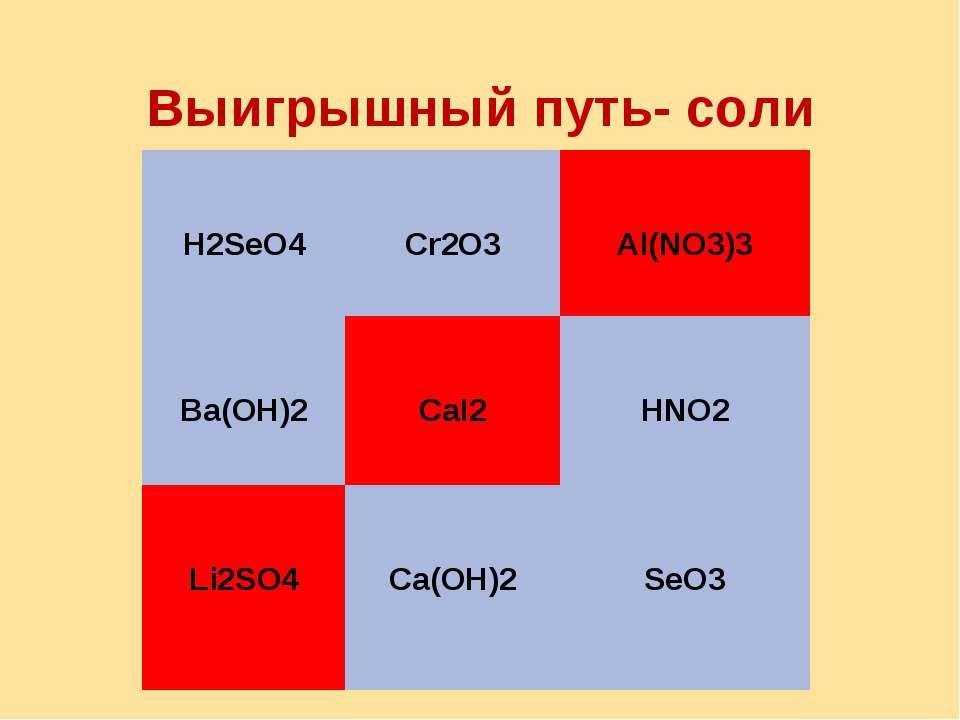 Выигрышный путь- соли H2SeO4 Cr2O3 Al(NO3)3 Ba(OH)2 CaI2 HNO2 Li2SO4 Ca(OH)2 ...